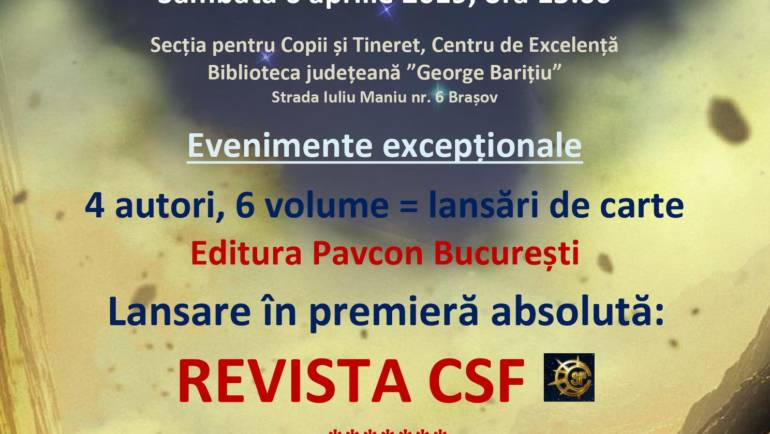 Lansări și perezentări la Antares Brașov <br/><span style='color:#ff0000;font-size:16px;'>06 Apr 2019</span>